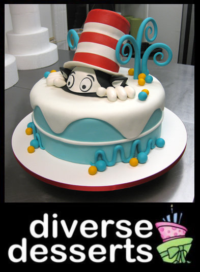 cat in a hat cake. We love the Cat in the Hat, we love Dr. Seuss and we especially love cake.